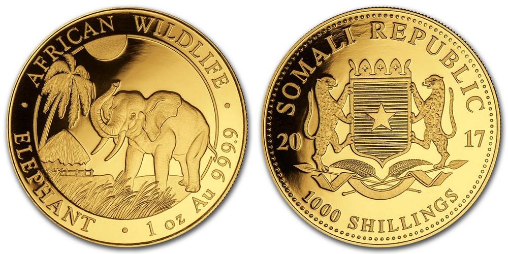 Pièce or Somalie 1 once Elephant Africain en or