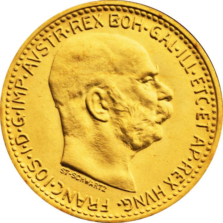 10 couronnes or Autriche avers
