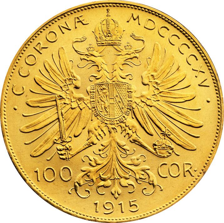 100 couronnes or Autriche revers