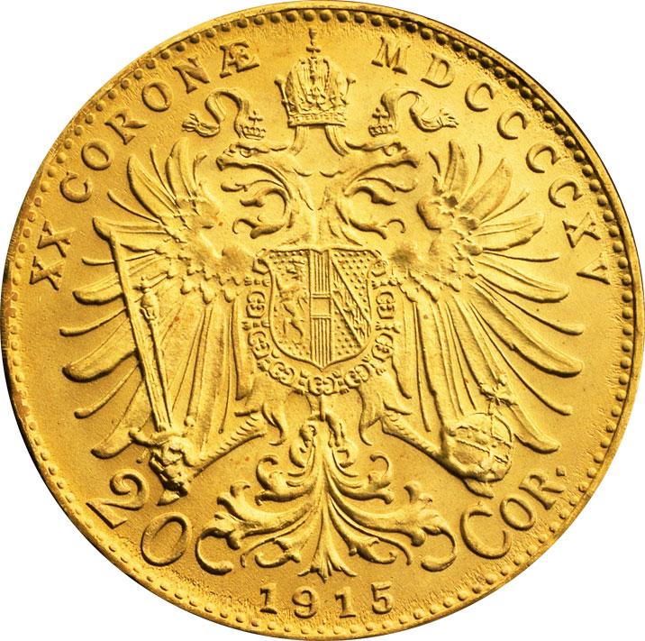 20 couronnes or Autriche revers