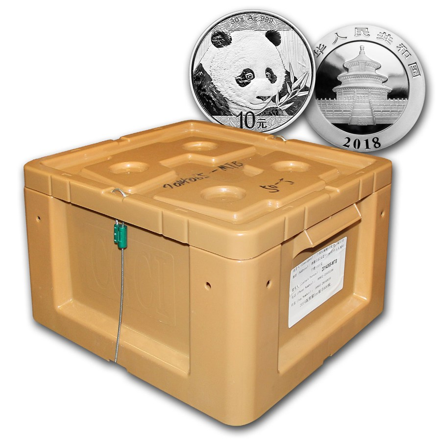 Photo d'une boite scellée contenant 450 pièces d'argent Panda Chine 2018
