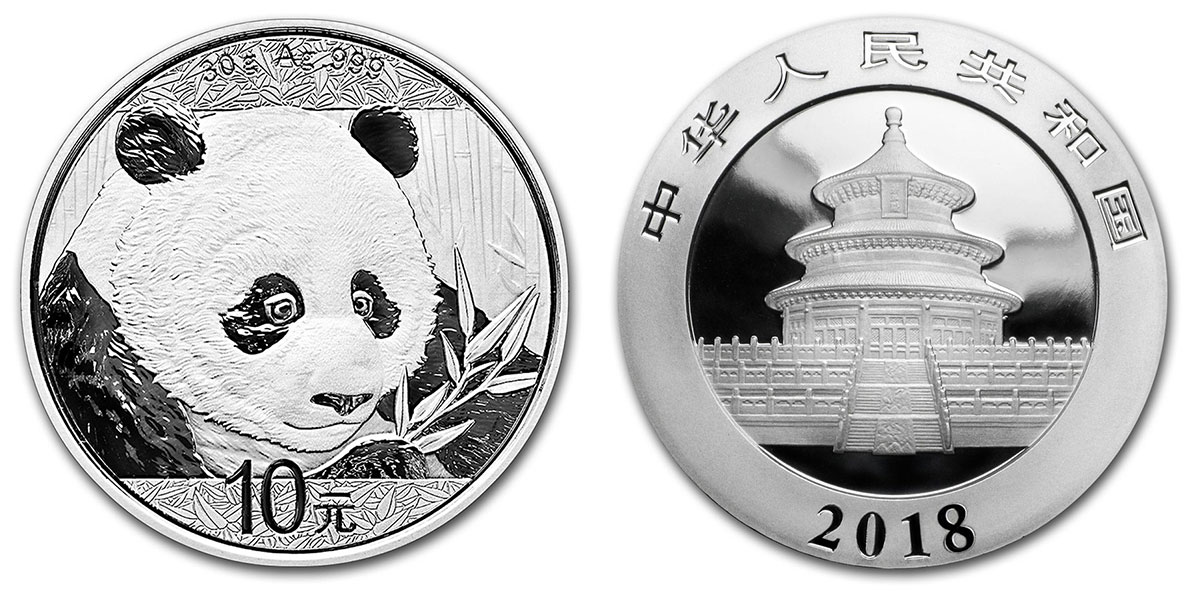 Photo avers revers de la pièce d'argent Panda Chine 2018