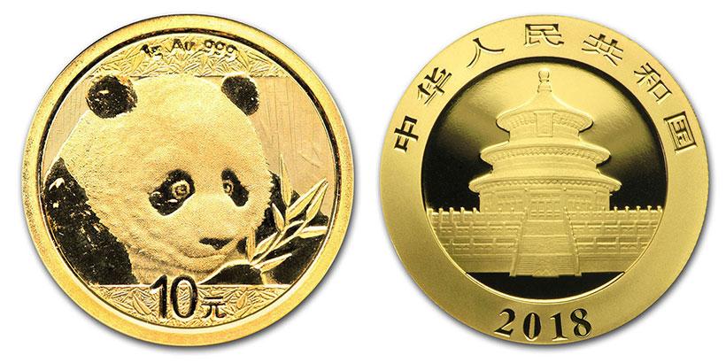Pièce or Panda Chine 2018 avers revers 10 Yuan taille réelle : 10 millimètres
