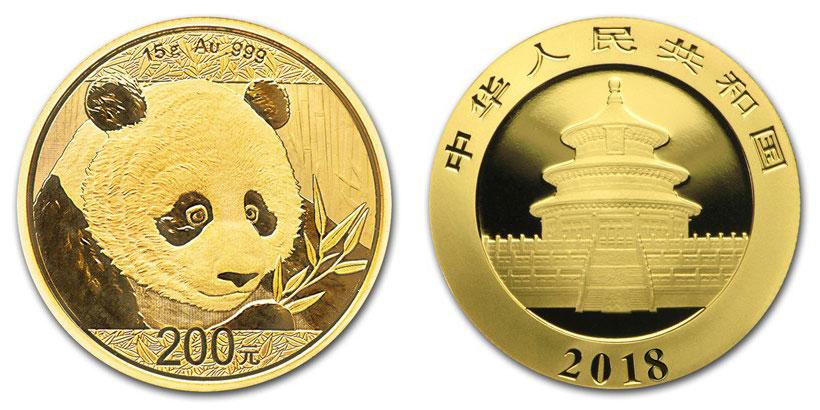 Pièce or Panda Chine 2018 avers revers 200 Yuan taille réelle : 27 millimètres