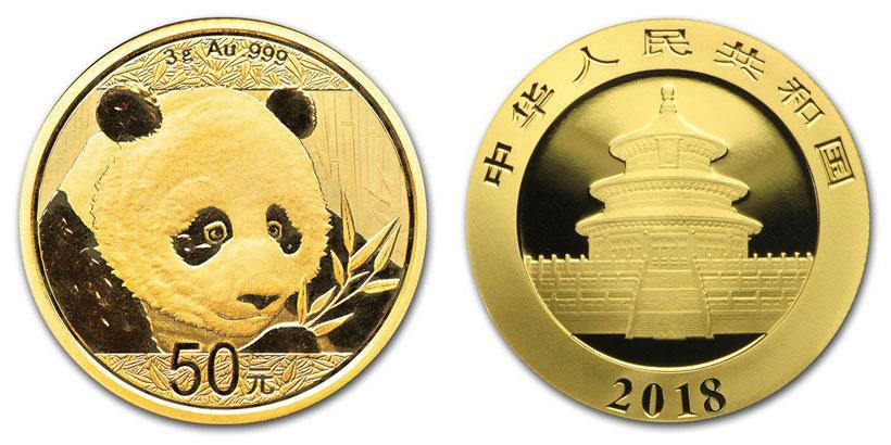Pièce or Panda Chine 2018 avers revers 50 Yuan taille réelle : 18 millimètres
