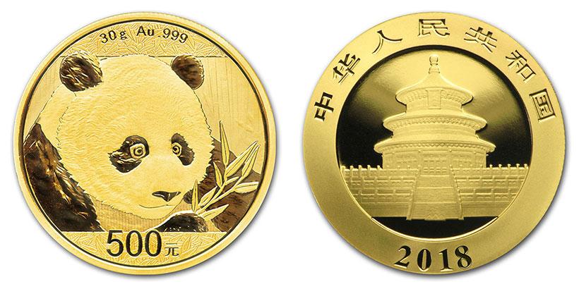 Pièce or Panda Chine 2018 avers revers 500 Yuan taille réelle : 32 millimètres