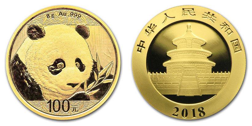 Pièce or Panda Chine 2018 avers revers 100 Yuan taille réelle : 22 millimètres