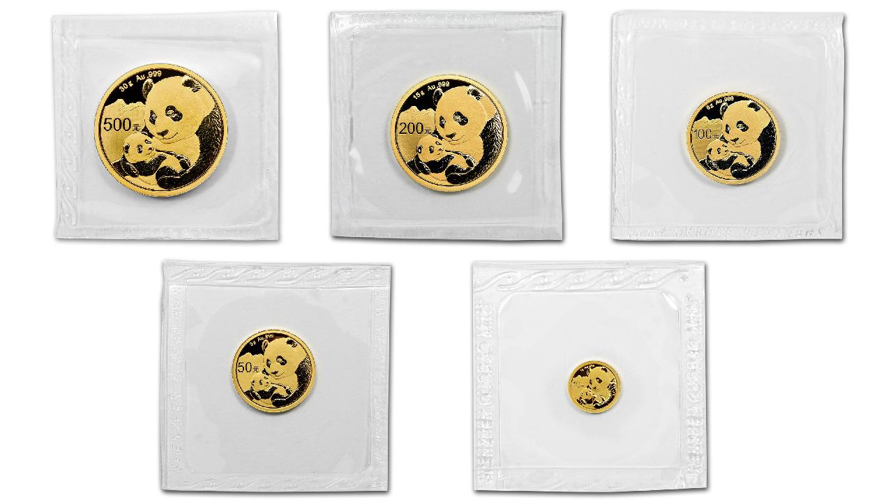 Photo des pièces d'or de 1 à 30 grammes Panda Chine 2019