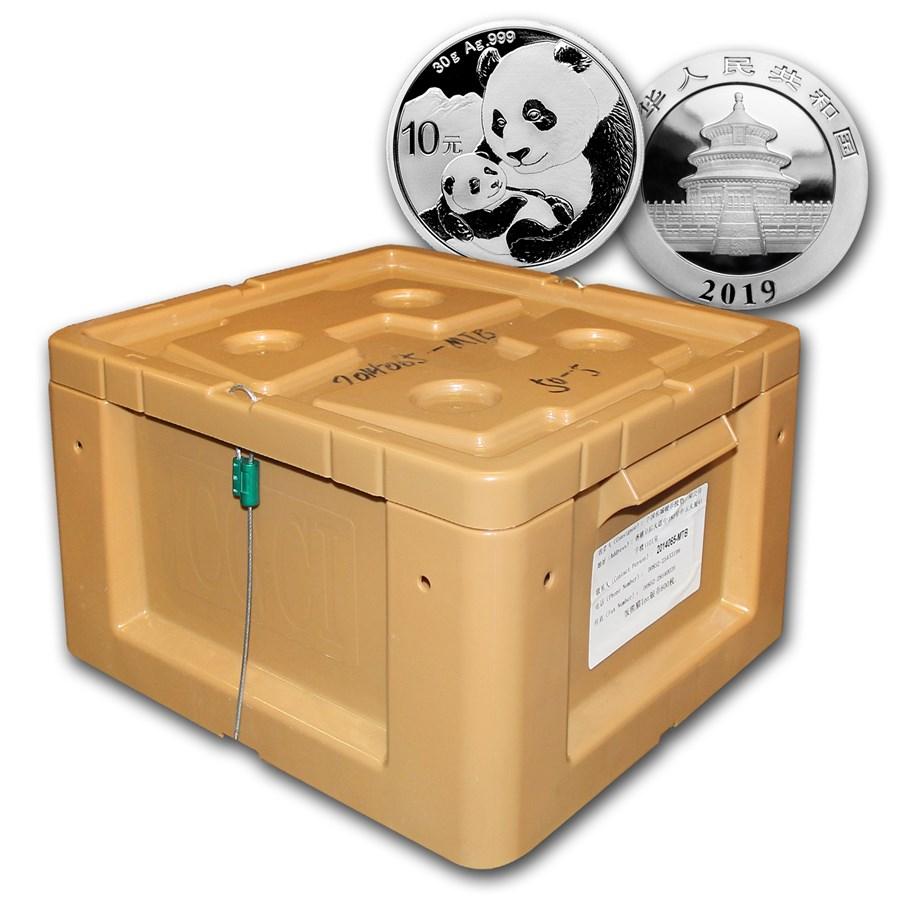 Photo d'une boite scellée contenant 450 pièces d'argent Panda Chine 2019