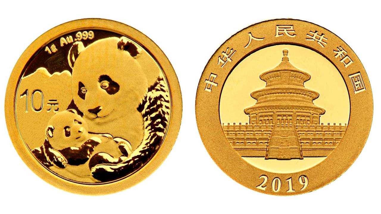 Pièce or Panda Chine 2019 avers revers 10 Yuan taille réelle : 10 millimètres