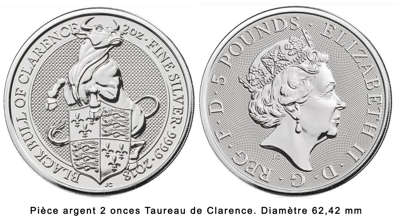 Pièce d'argent 2 onces Taureau noir de Clarence 2018