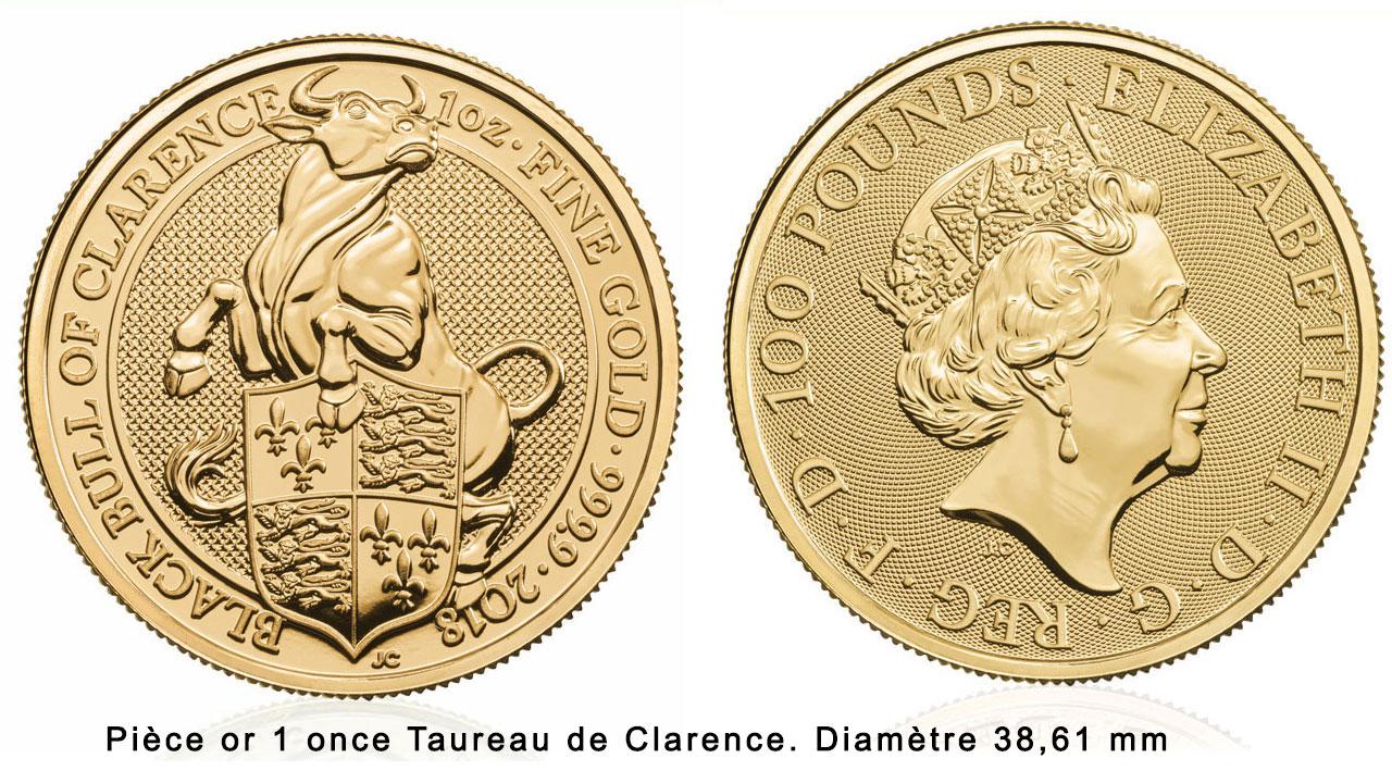 Pièce d'or 1/4 d'onces Taureau noir de Clarence 2018