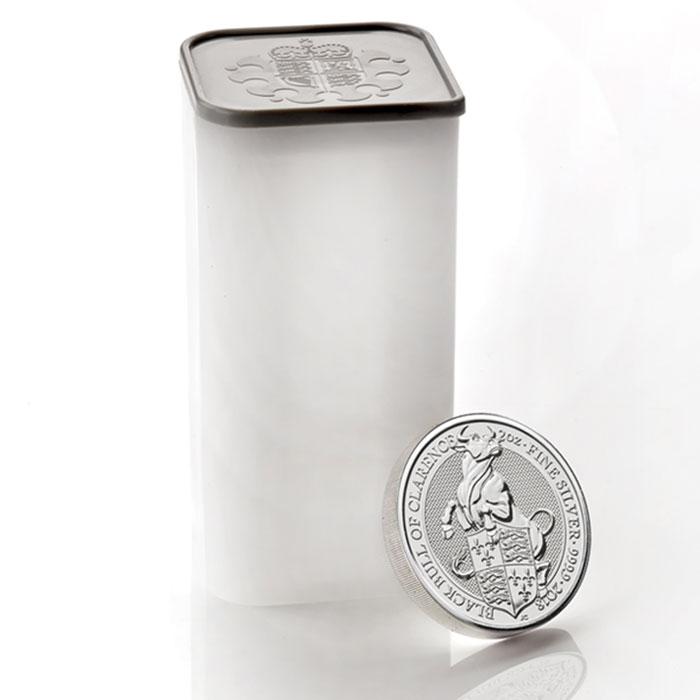 Photo d'un tube de 10 pièces d'argent 2 onces Taureau noir de Clarence 2018