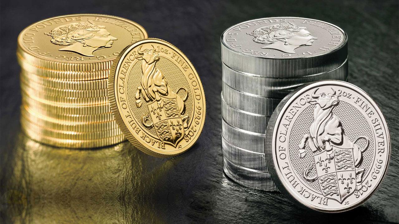 Photo des pièces d'or et d'argent Taureau de Clarence 2018 d'Angleterre