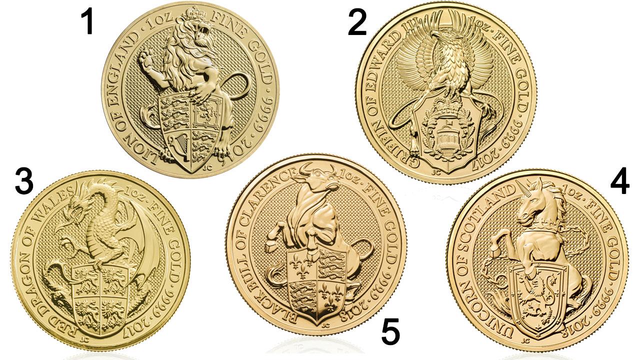 Photo des 5 pièces de la série Bêtes de la Reine