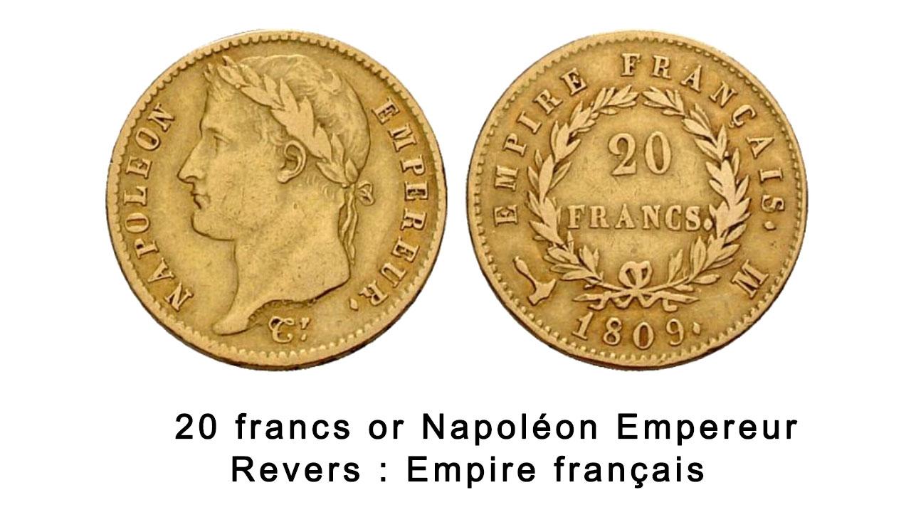 Pièce de 20 francs or Napoléon Empire français