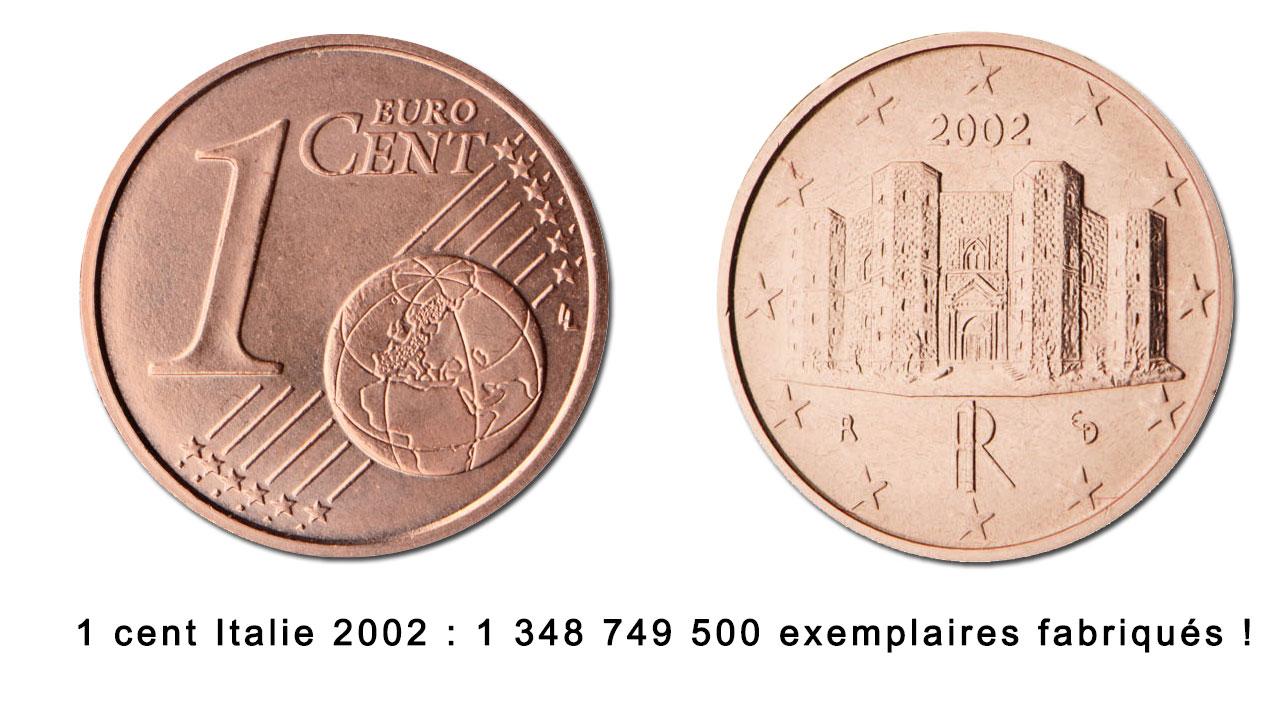 Toutes les pièces euro ne sont pas aussi rares les unes que les autres : exemple avec la pièce 2 centimes Italie 2002