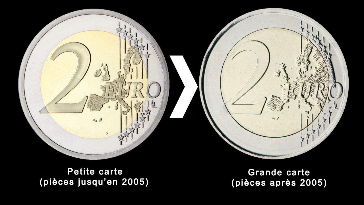 Modification de la carte sur les pièces en euro en 2005