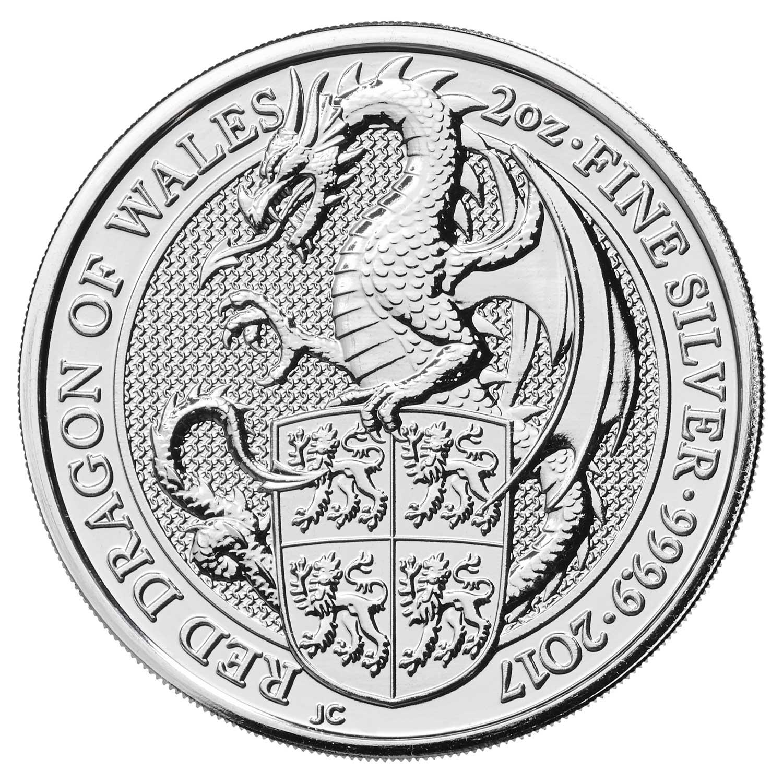Photo de la pièce d'argent Dragon rouge du pays de Galles 2017