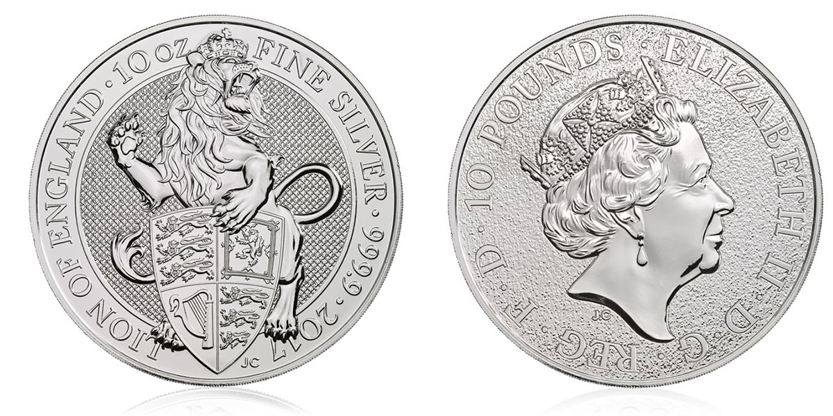 Pièce argent Royaume Uni 10 livres Sterling 10 onces Queen's Beasts 2017