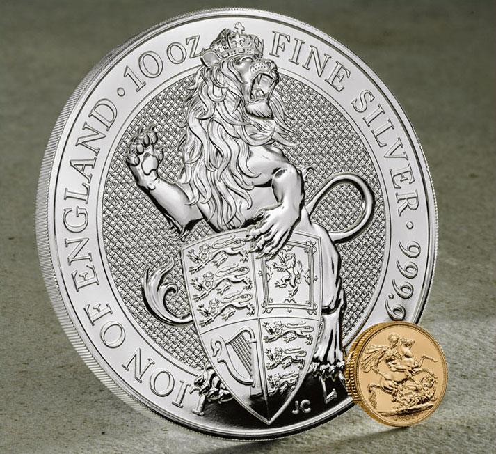 Photo de la nouvelle pièce d'investissement d'Angleterre Queen's Beast de 10 onces