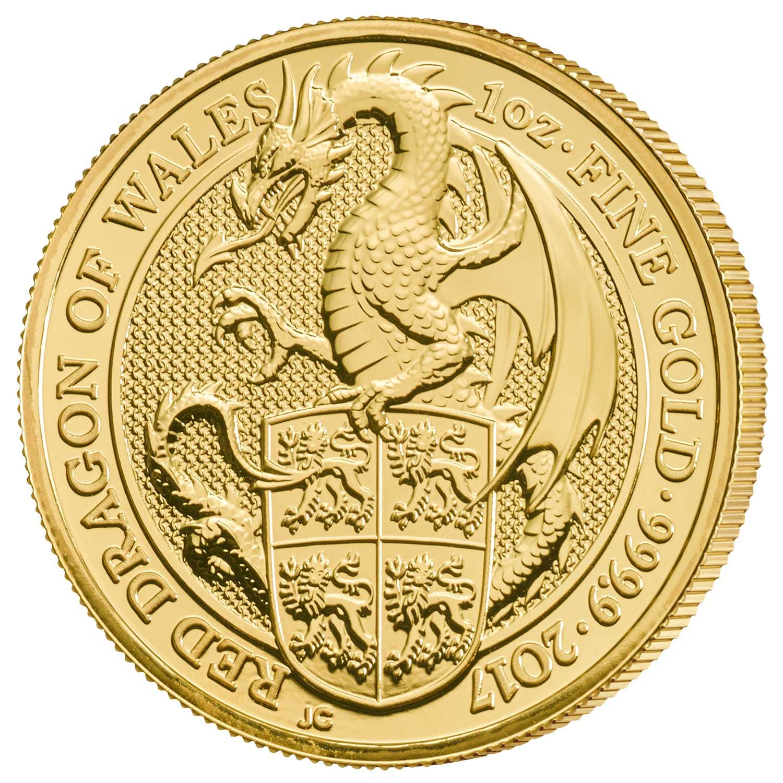 Photo de la pièce d'or d'une once Dragon rouge du Pays de Galles 2017