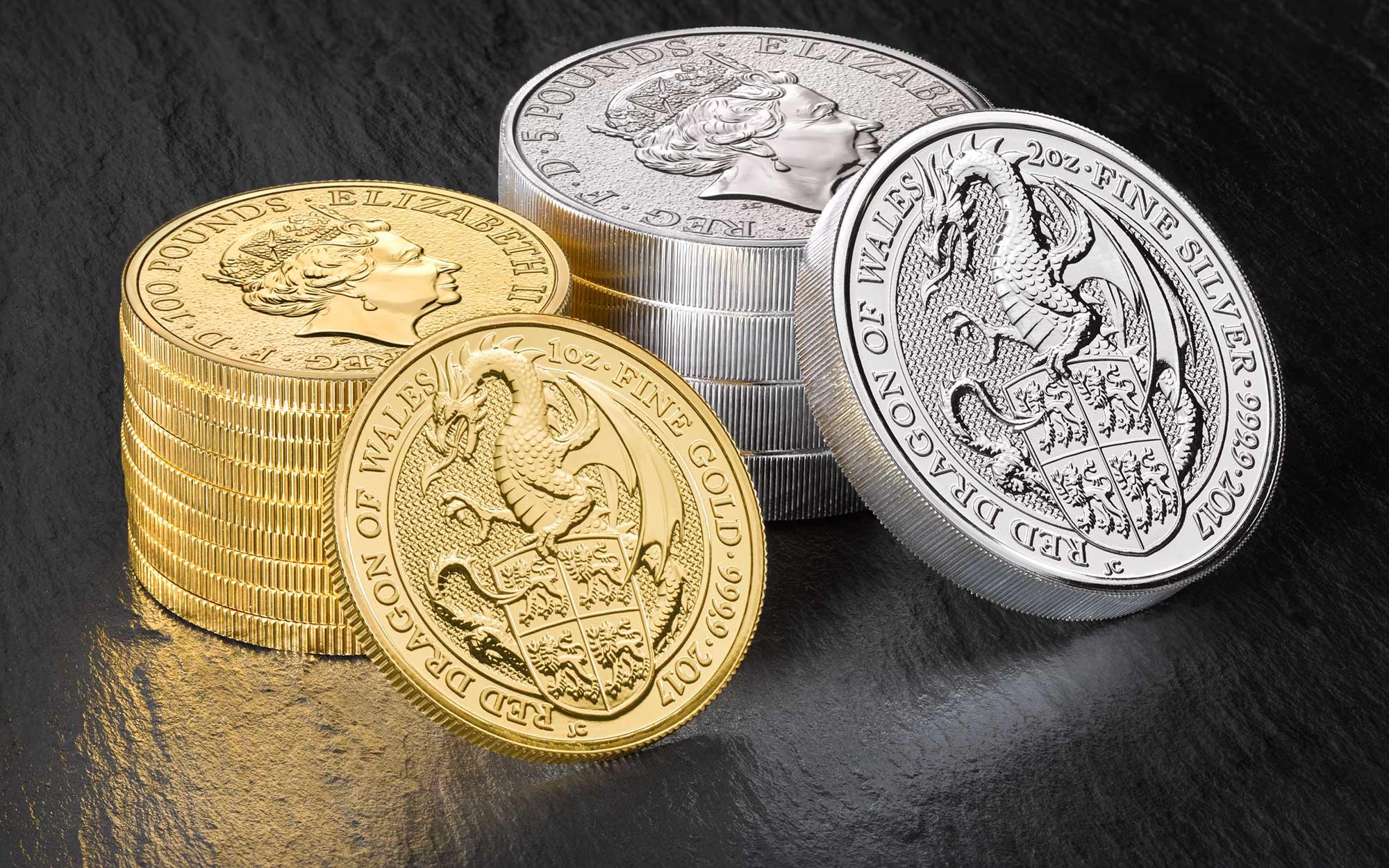 Photo des nouvelles pièces d'or et d'argent Queen's Beast : le Dragon rouge