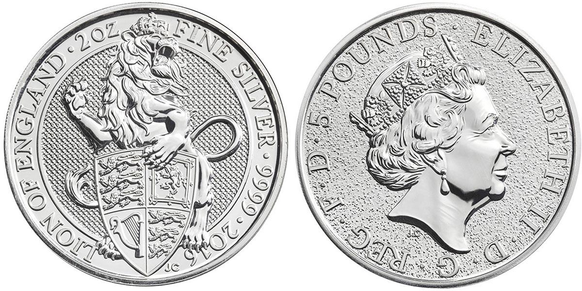Pièce d'argent 2 onces Queen's Beasts 2016