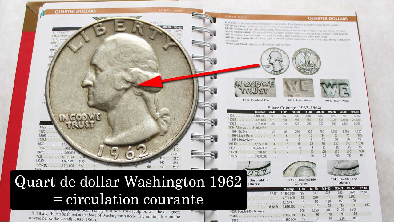 Exemple de pièce circulante dans le Red Book : 1/4 de dollar Washington