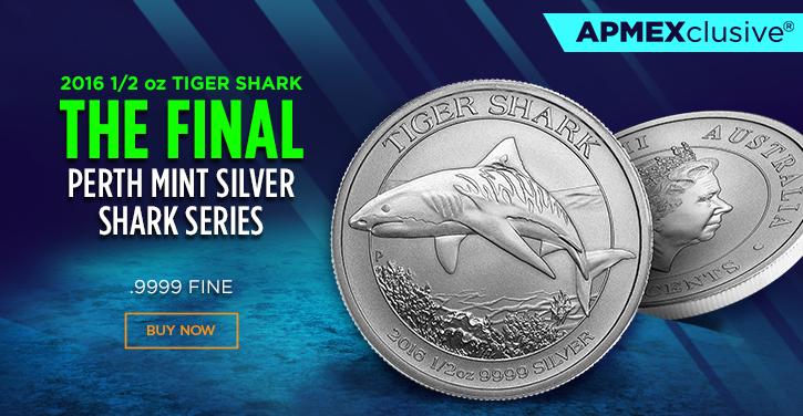 Pièce d'argent demie once requin tigre 2016