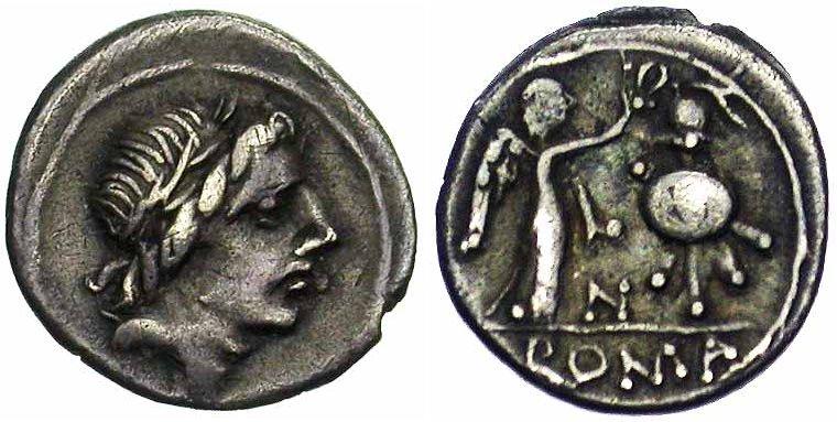 Exemple de quinaire frappé sous la République romaine