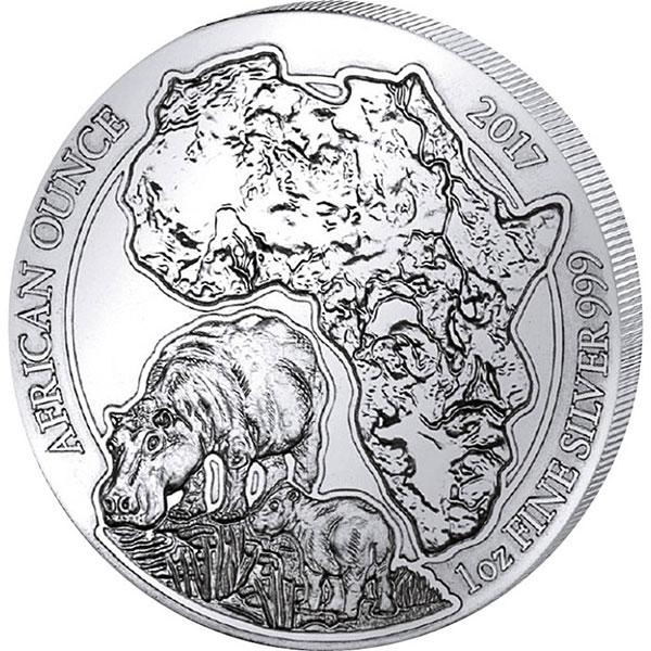 Photo du revers de la pièce d'argent d'une once Hippopotame d'argent Africain 2017