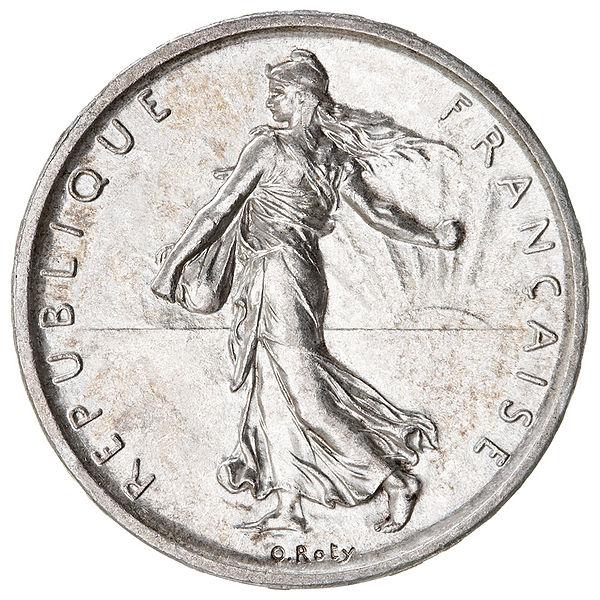 Avers d'une pièce de 5 francs en argent à la Semeuse frappée en 1960