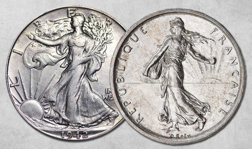 Photo des 2 pièces côte à côte la pièce américaine demi dollar Walking Liberty (à gauche) et la Semeuse de Roty (à droite)