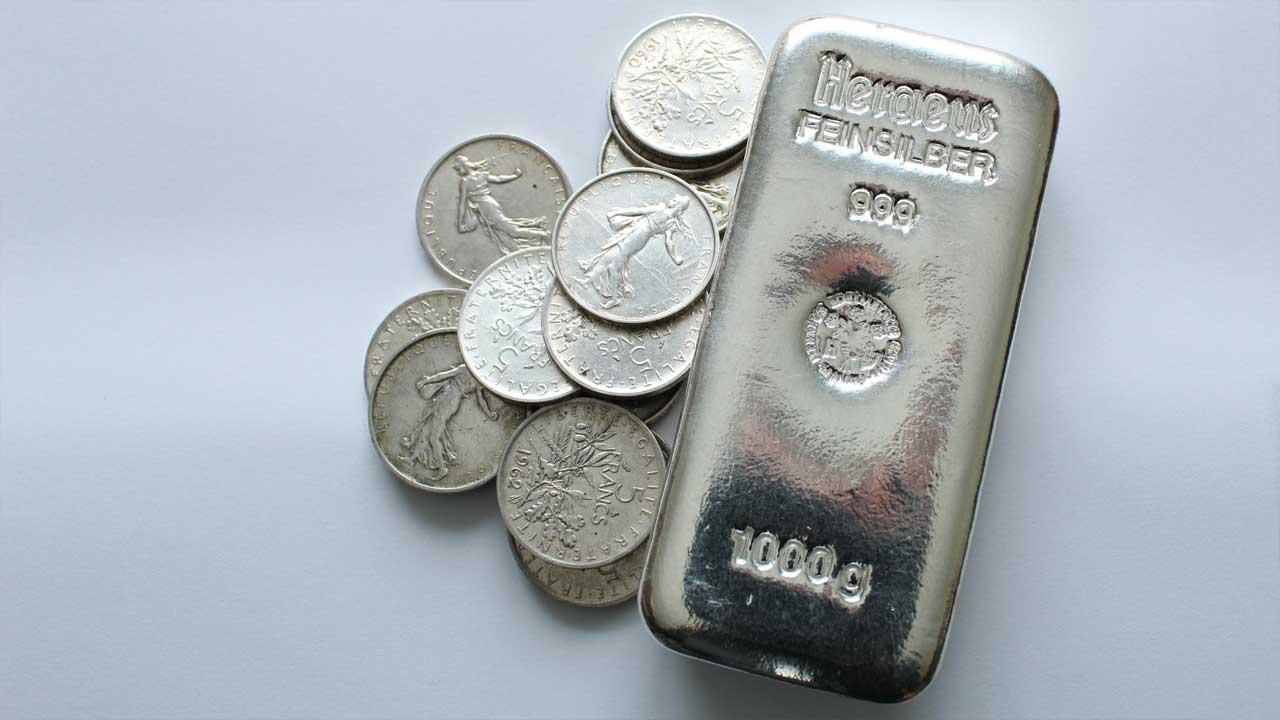 Lingot d'argent et pièces d'argent 5 francs Semeuse