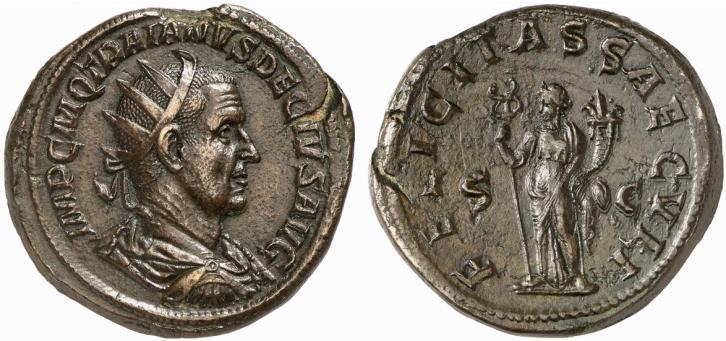Exemple de double sesterce, frappé par l'Empereur Trajan Dèce