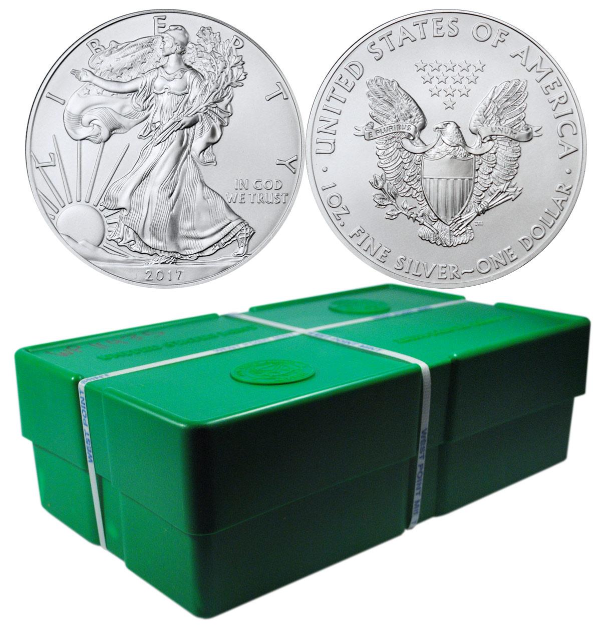 Photo d'une monster box contenant 500 pièces d'argent Silver Eagle, idéale pour les investisseurs