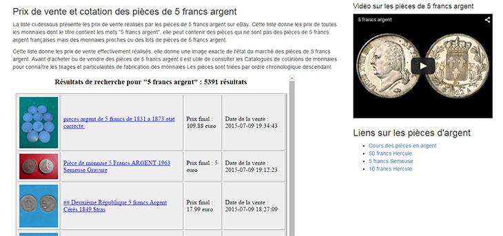 Capture d'écran du site 5 francs argent .monnaie.me