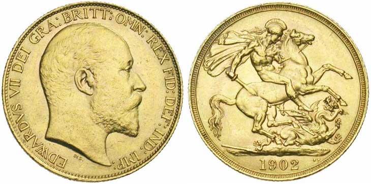 Pièce cotée : souverain en or à l'effigie de Edouard VII