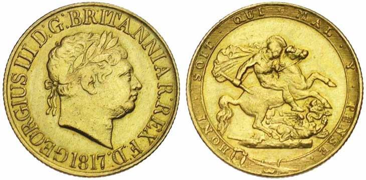 Pièce cotée : souverain en or à l'effigie de George III