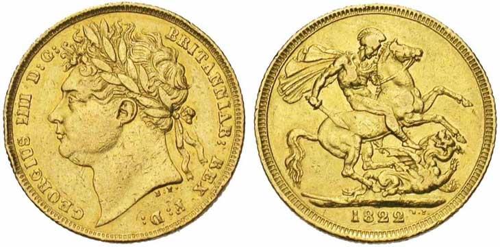 Pièce cotée : souverain en or à l'effigie de George IIII revers Saint-George