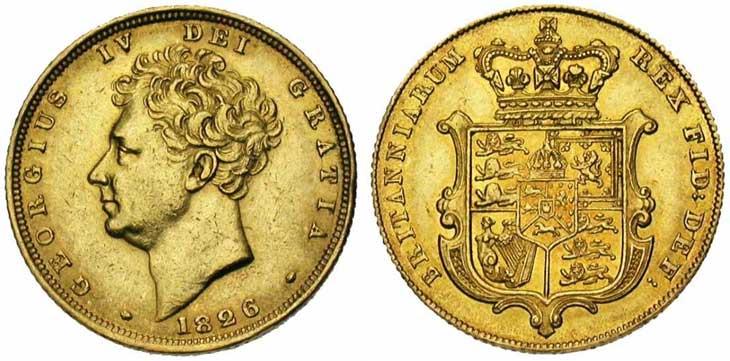Pièce cotée : souverain en or à l'effigie de George IV revers Ecusson