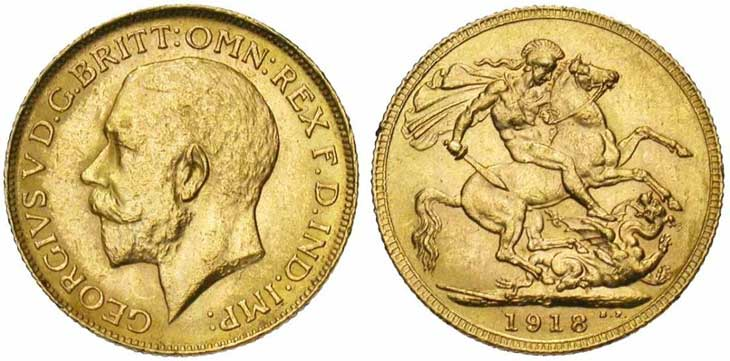 Pièce cotée : souverain en or à l'effigie de George V