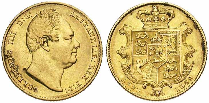 Pièce cotée : souverain en or à l'effigie de Guillaume IV
