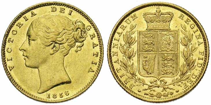 Pièce cotée : souverain en or à l'effigie de Victoria jeune revers Ecusson