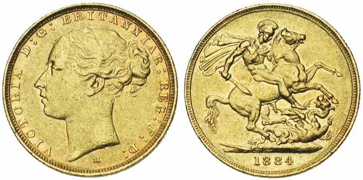 Pièce cotée : souverain en or à l'effigie de Victoria jeune revers Saint-George