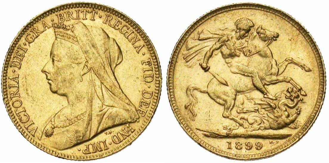 Pièce cotée : souverain en or à l'effigie de Victoria avec voile