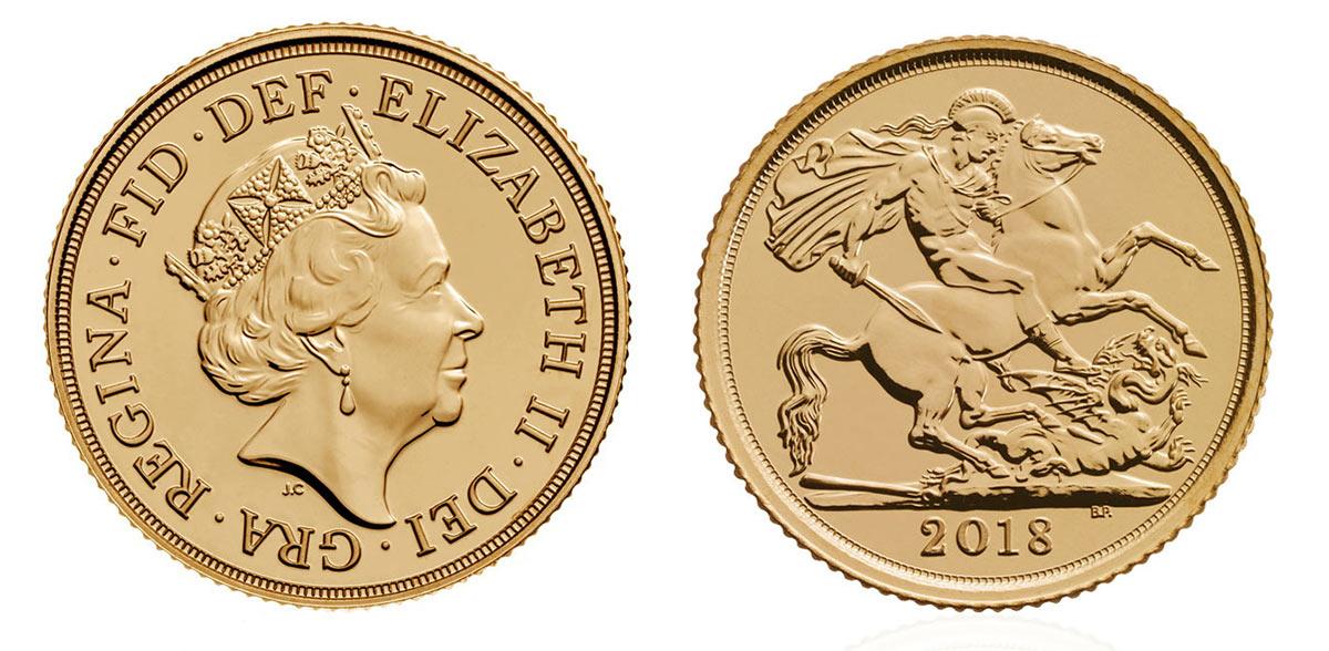 Photo avers et revers du demi souverain d'or Royaume Uni 2018