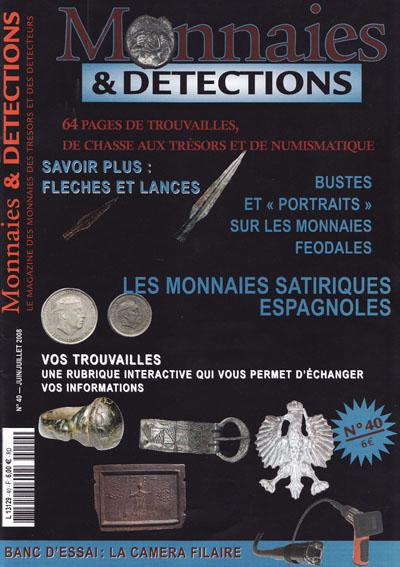 Couverture du Magazine MONNAIES ET DETECTION n°40 (juin-juillet 2008)