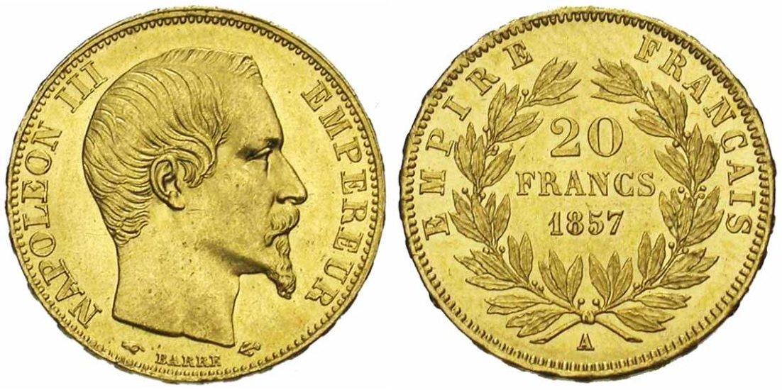 Type : Napoléon III Années : 1853 à 1860 Tirage : 146 557 145 ex Légende Avers : «Napoléon III Empereur» Légende Revers : «Empire Français» Tranche : «***** Dieu * protège * la * France» Graveur : Jean Jacques Barre Notes : tête nue